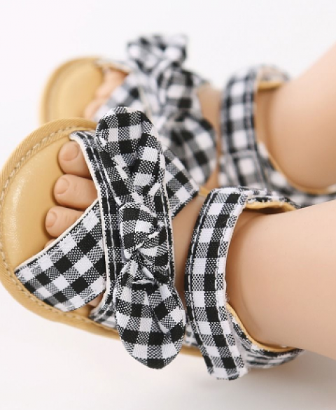 Plaid Bowknot Infant Sandals