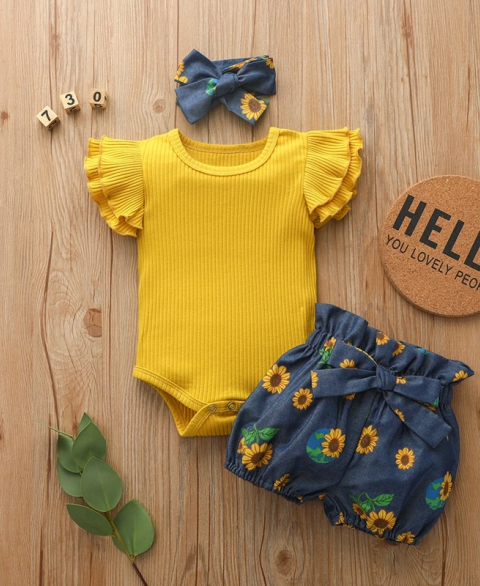 3pc Sunflower Flutter Bummie Set
