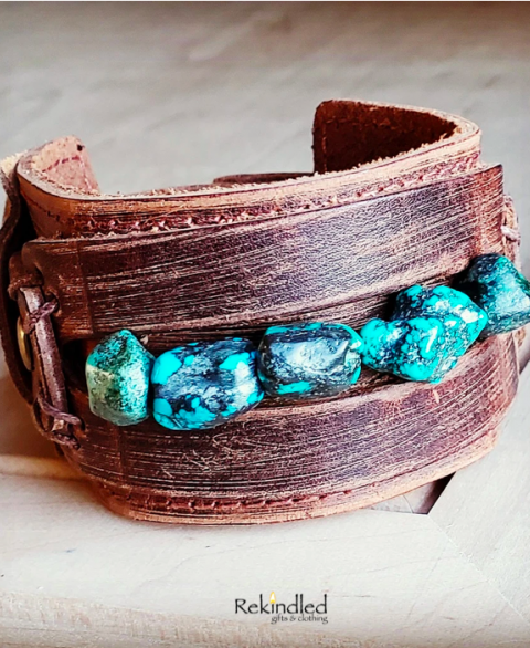Dusty Leather Cuff Wide Cuff with African Turquoise Chunks