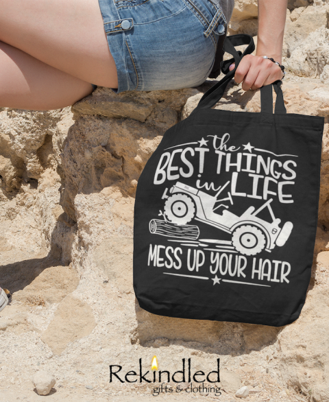 The BEST Things in Life, Mess Up Your Hair - Tote (Jeep)