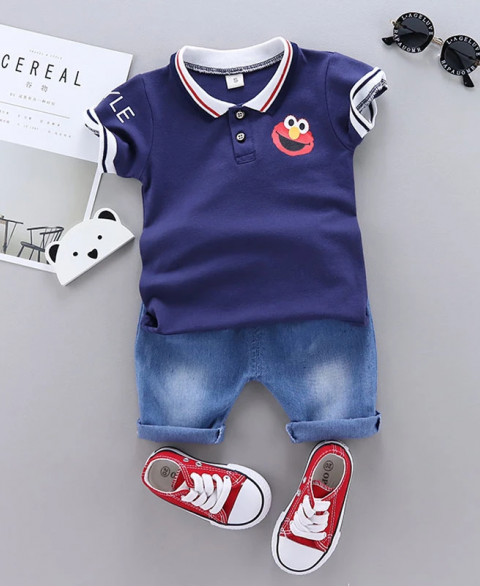 2pc Elmo Polo & Jean Shorts Set