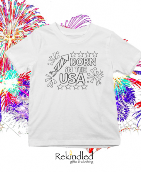 Washable Born in the USA Coloring Shirt