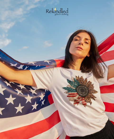 Distressed Split Cheetah & American Flag Sunflower Tee
