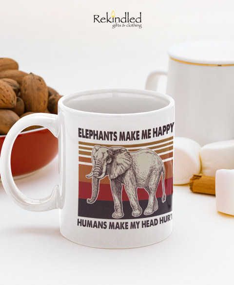 Elephants Make Me Happy 11oz Coffee Mug