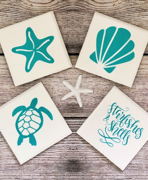 """Starfishes & Shells"" Seafoam Coaster Set"