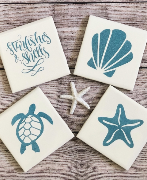 """Starfishes & Shells"" Glitter Maya Coaster Set"
