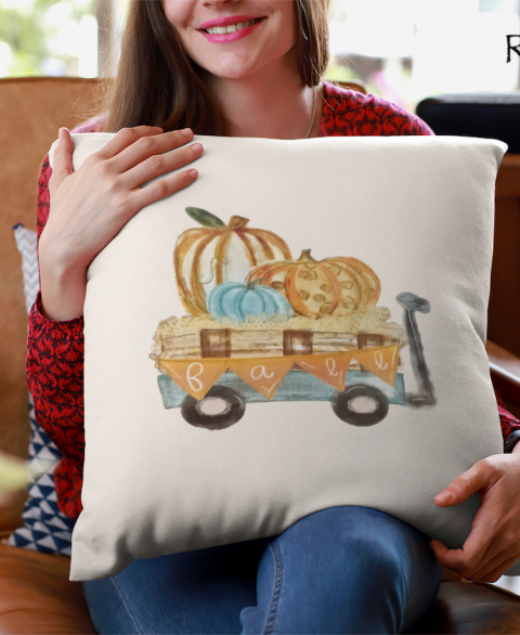 Fall Wagon Pillow Cover