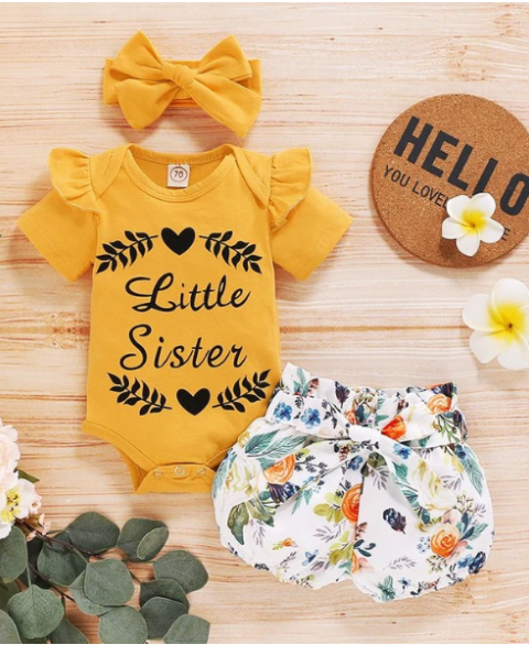 Little Sister 3pc Floral Bowknot Set