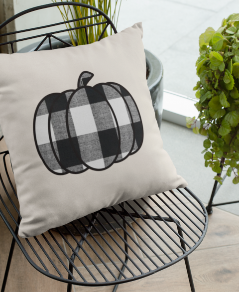 Buffalo Plaid Pumpkin Pillow Cover