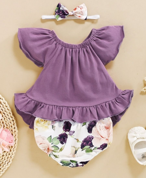 3pc Purple Floral Flutter Set
