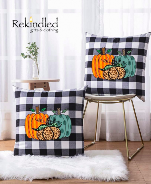 Farmhouse Buffalo Plaid Pumpkins Pillow Cover