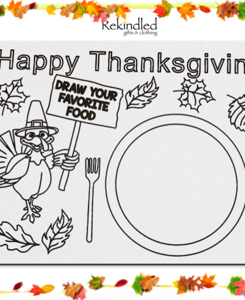 Happy Thanksgiving Reusable Coloring Placemats
