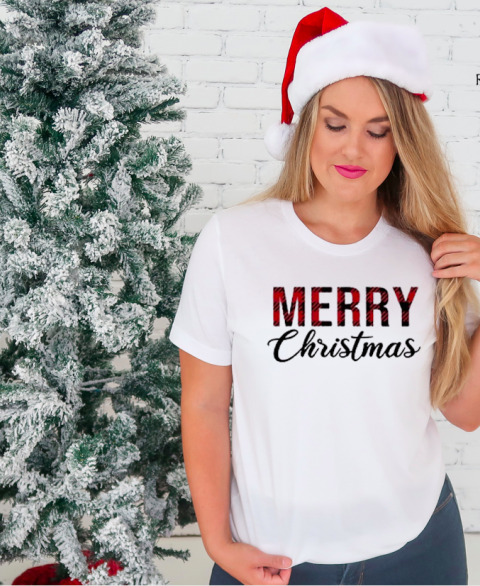 Merry Christmas Buffalo Plaid Tee