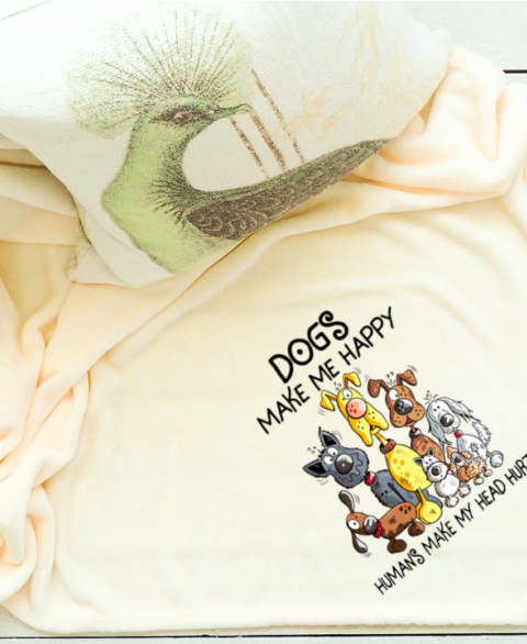 "Dogs Make Me Happy 50""x60"" Throw Blanket"
