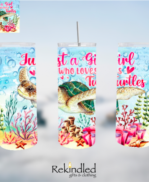 Just A Girl Who Loves Turtles 20oz Skinny Tumbler