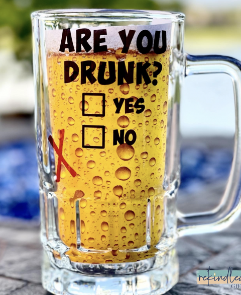 Are You Drunk? 16oz Glass Beer Stein