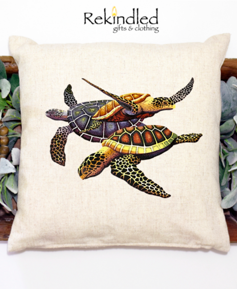 Trio of Sea Turtles Pillow Cover