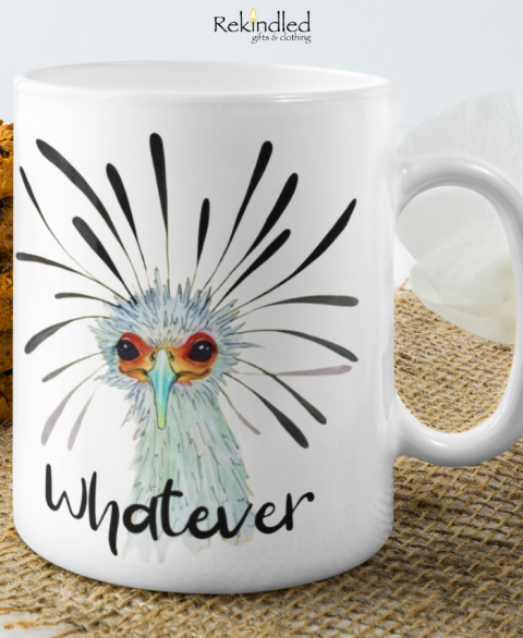 """Whatever"" Secretary Bird 11oz Coffee Mug"
