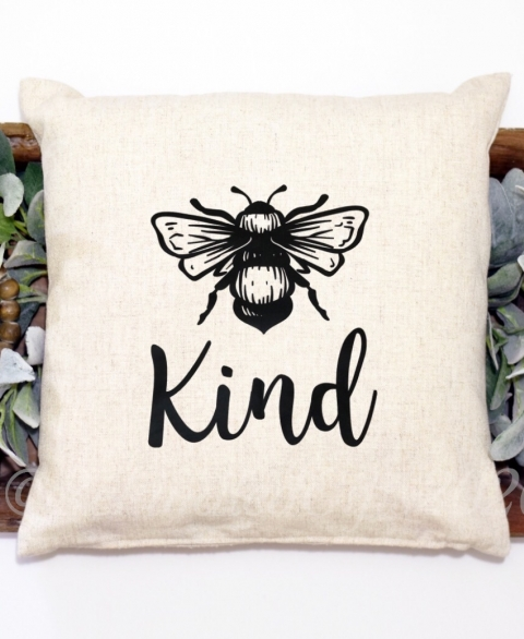 """Bee Kind"" Pillow Cover"