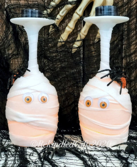 Mortified Mummy - Spooktacular Wine Glass Luminaries