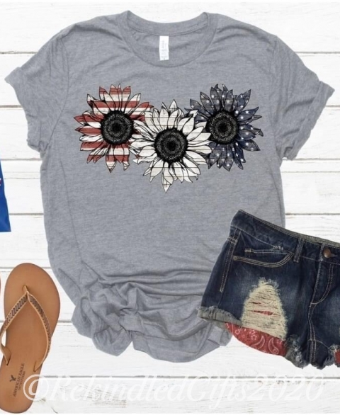 American Sunflower Flag Tee