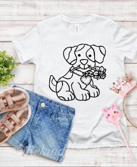 Washable Puppy Coloring Shirt