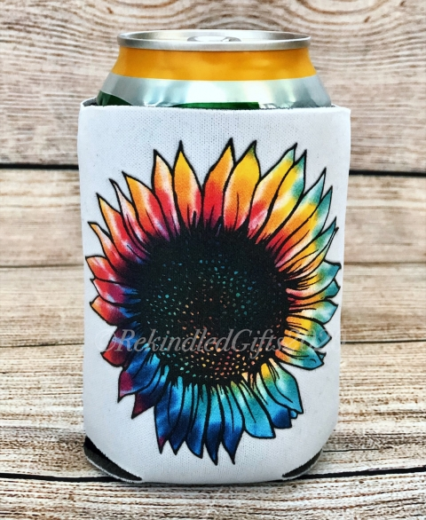 Rainbow Tie Dye Sunflower Koozie - 12 oz.
