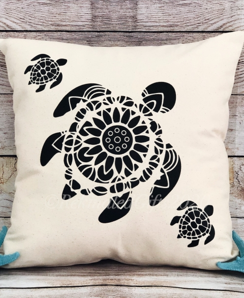 """Swim with Me"" Mandala Turtle Pillow Cover"