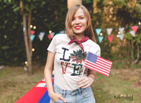 Distressed Love American Sunflower Tee