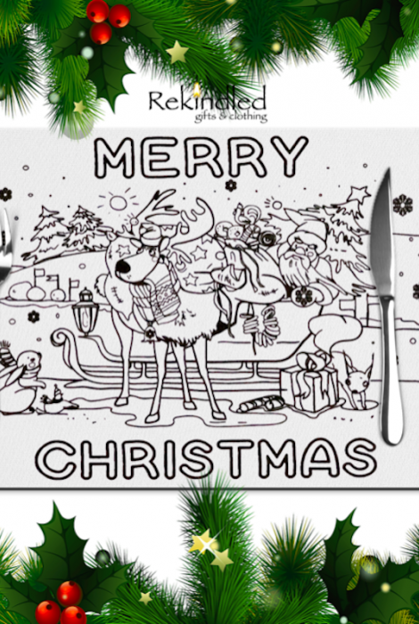 Merry Christmas Reusable Coloring Placemats